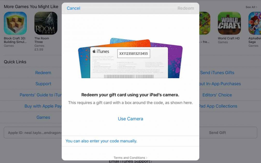 Redeeming an iOS promo code